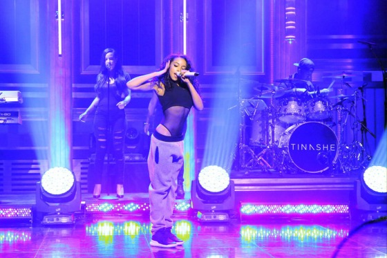 THE TONIGHT SHOW STARRING JIMMY FALLON -- Episode 0368 -- Pictured: Musical guest Tinashe performs on November 16, 2015 -- (Photo by: Douglas Gorenstein/NBC)